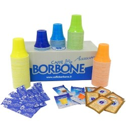 Caffè Borbone - Branded Coffe Kit 100 Espresso Cups, 100 Sugar Bags, 100 Sticks
