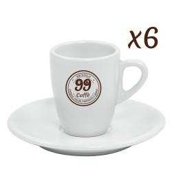 Tazzine da Caffè con piattini - set 6pz - 99 Caffè