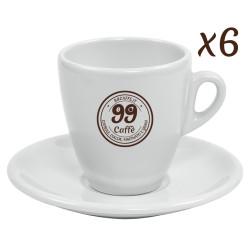 Tazzine da Cappuccino con piattini - set 6pz - 99 Caffè